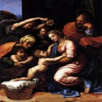 Raphael Sanzio (Italian: Raffaello) (1483 - 1520)  The Holy Family of Francis I  Oil on canvas transferred  wood, 1518  207 cm &#215; 140 cm (81 in &#215; 55 in)  Louvre, Paris, France